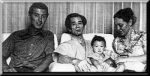 Master Shigeru Egami, his wife, and his son Masatake, on the left, Ken Waight